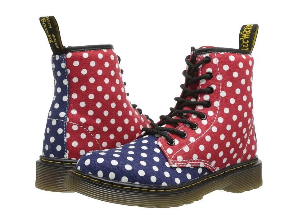 Dr. Martens Kid's Collection - Delaney Lace Boot (Little Kid/Big Kid) (Navy+White/Red+White Dots Fine Canvas) Girls Shoes