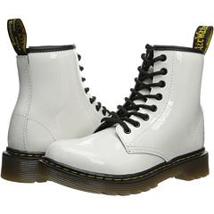 Dr. Martens Kid's Collection Delaney Lace Boot (Little Kid/Big Kid) (White Patent Lamper) Kids Shoes