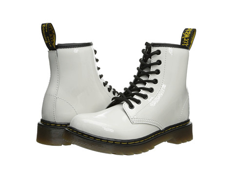 Dr. Martens Kid's Collection - Delaney Lace Boot (Little Kid/Big Kid) (White Patent Lamper) Kids Shoes