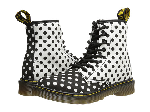 Dr. Martens Kid's Collection - Delaney Lace Boot (Little Kid/Big Kid) (Black+White/White+Black Dots Fine Canvas) Girls Shoes