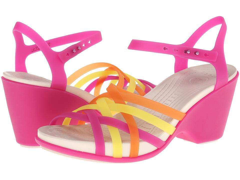 Crocs - Huarache Sandal Wedge (Fuchsia/Graphite) Women