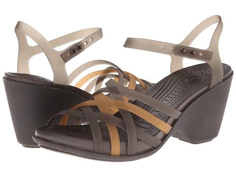 Crocs - Huarache Sandal Wedge (Bronze/Espresso) Women