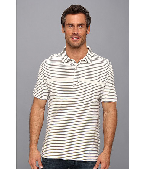 Toad&Co - Jack Polo Shirt (Foggy/Smoke Stripe) Men's Short Sleeve Pullover