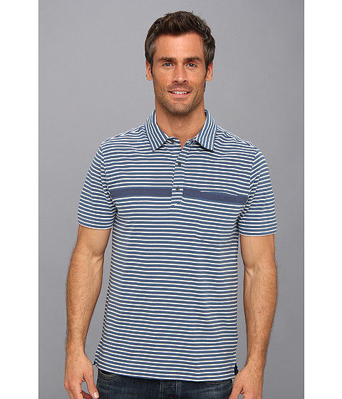 Toad&Co - Jack Polo Shirt (Deep Blue/Foggy Stripe) Men's Short Sleeve Pullover