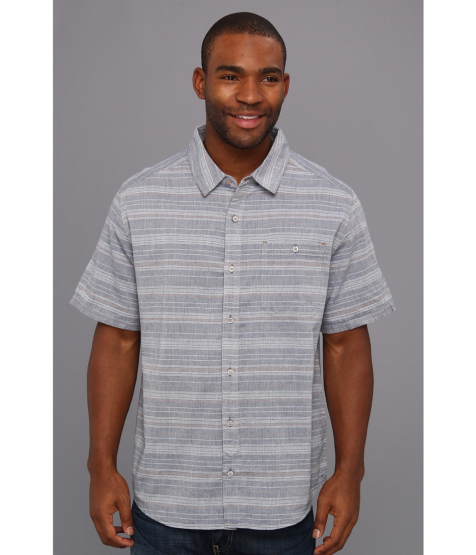 Toad&Co - Hardscape Shirt (Deep Blue Stripe) Men's Short Sleeve Button Up