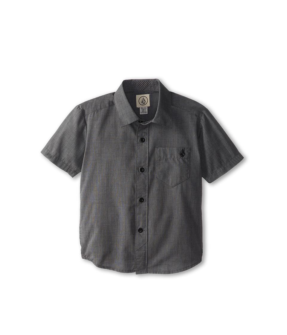 Volcom Kids - Weirdoh Solid S/S Woven (Toddler/Little Kids) (Black) Boy's Short Sleeve Button Up