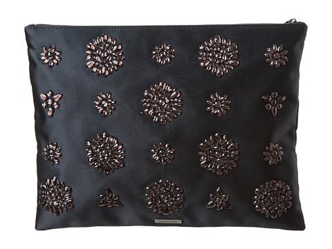 BCBGMAXAZRIA - Amelie Flower Jeweled Clutch (Black) Clutch Handbags