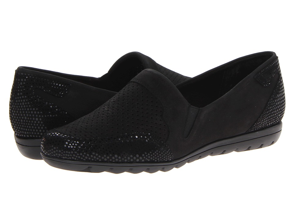Vaneli - Athena (Black Nabuk/Black E Print) Women's Slip on Shoes