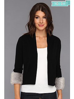 SALE! $134.99 - Save $162 on Autumn Cashmere Easy Crop Cardigan w Faux Fur Cuffs (Black Fog) Apparel - 54.55% OFF $297.00