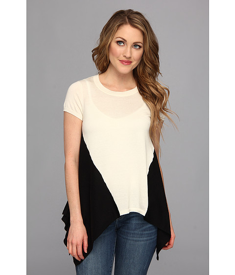 Autumn Cashmere - Two-Tone Drape Tee (Parchment/Black) Women