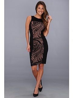 SALE! $89.99 - Save $88 on BCBGMAXAZRIA Leona Lace Dress w Contrast Ponte (Black) Apparel - 49.44% OFF $178.00