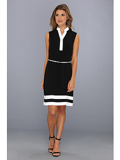 SALE! $59.99 - Save $74 on Calvin Klein Crepe Dress (Black White) Apparel - 55.23% OFF $134.00