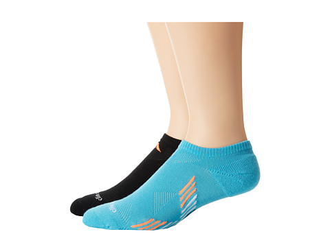 adidas - Climacool X II 2-Pack No Show Socks (Samba Blue/Black/White/Glow Orange/Black/Aluminum 2/Samba Blue/G) Women