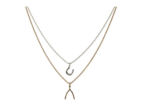 Lucky Brand - Two-Tone Wishbone Pendant Necklace (Two Tone) Necklace