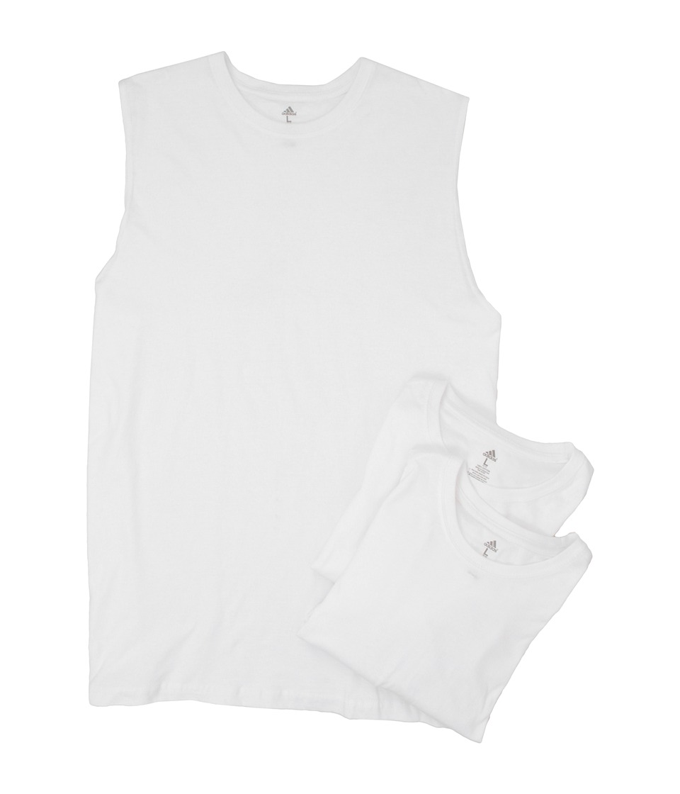 adidas - Ath Comfort CL 3-Pack Muscle Tank (White/White/White) Men's Clothing