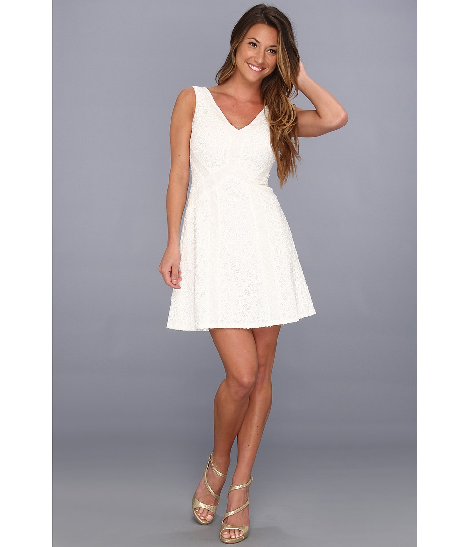 BCBGMAXAZRIA - Gracie Lace-Block Dress (Off White Combo) Women's Dress