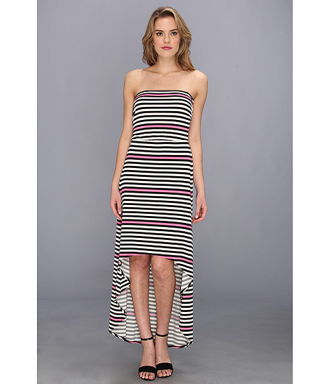 Laundry by Shelli Segal - Strapless Hi-Low Striped Maxi (Neo Pink) Women's Dress