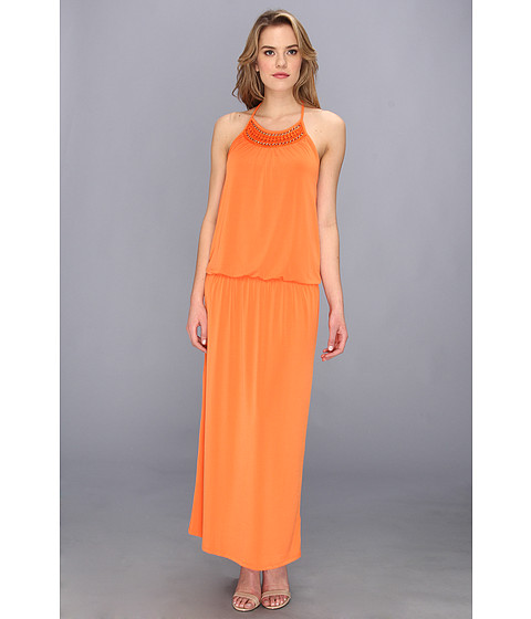 Laundry by Shelli Segal - Crochet Neck Trim Maxi (Pop Orange) Women