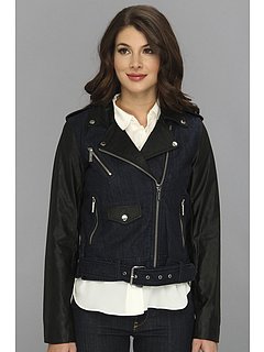 SALE! $136.99 - Save $113 on MICHAEL Michael Kors Denim Moto Jacket w Faux Leather Sleeves (Stellar Wash) Apparel - 45.20% OFF $250.00