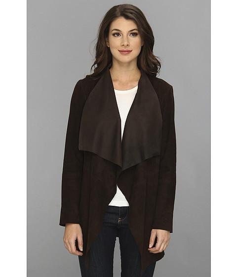 MICHAEL Michael Kors - Draped Open Suede Jacket (Chocolate) Women's Coat