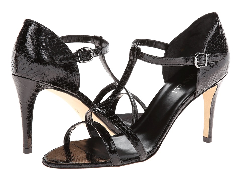Vaneli Easily (Black Whip Snake) High Heels