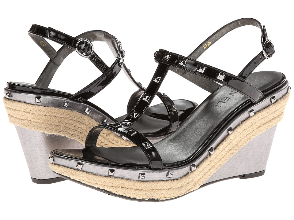 Vaneli - Eglon (Black Smack Patent/Acciao Speed/Gunmetal Trim) Women's Wedge Shoes