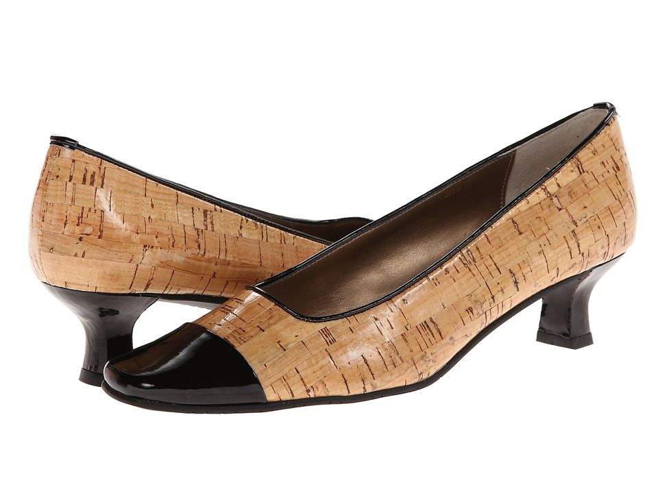 Vaneli - Rickie (Natural Lak Cork/Black Ferns Patent) Women's 1-2 inch heel Shoes