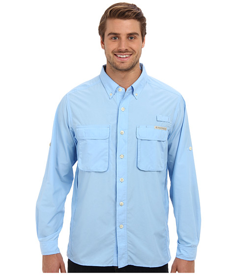 ExOfficio - Air Strip Long Sleeve Top (Light Lapis) Men's Long Sleeve Button Up