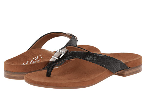 VIONIC with Orthaheel Technology - Lima (Black Lizard) Women's Sandals