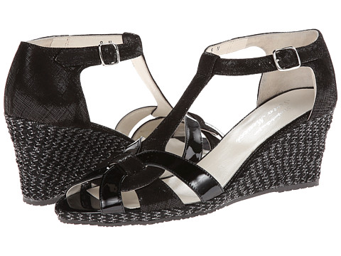 Sesto Meucci - 333 (Black Cartizze/Black Mag Patent) Women's Wedge Shoes