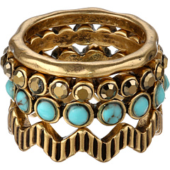 SALE! $17.99 - Save $17 on Lucky Brand Winter Glimmer Turquoise Pave Stack Ring (Gold) Jewelry - 48.60% OFF $35.00