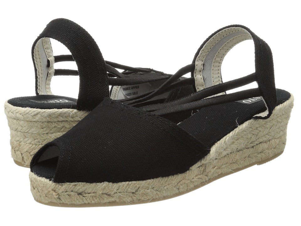 Sesto Meucci - 858 (Black Lona Fabric) Women's Wedge Shoes