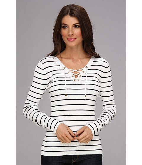 MICHAEL Michael Kors - Lace-Up Sweater (White) Women's Sweater