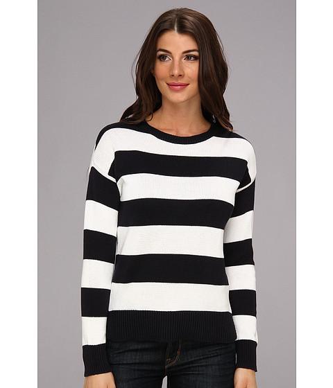 MICHAEL Michael Kors - Striped L/S High-Low Hem Sweater (Dark Midnight) Women's Sweater