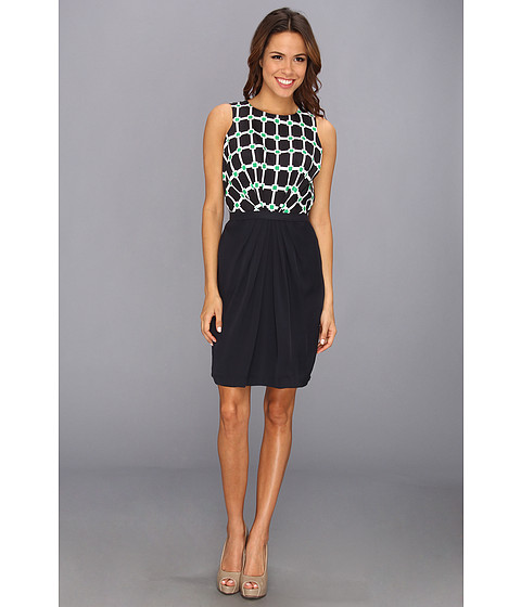 MICHAEL Michael Kors - S/L Front Gathered Waist Dress (Dark Midnight/Spring Green) Women's Dress