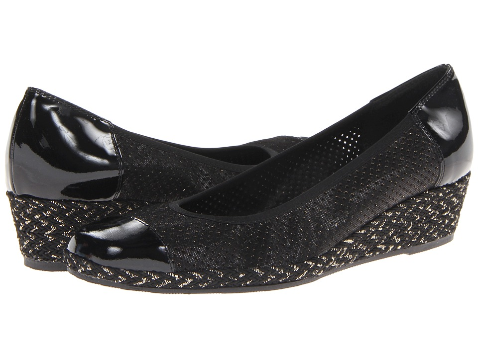 Sesto Meucci - Mildee (Black Betty/Black Mag Patent/Black/Gold Rope) Women's Wedge Shoes