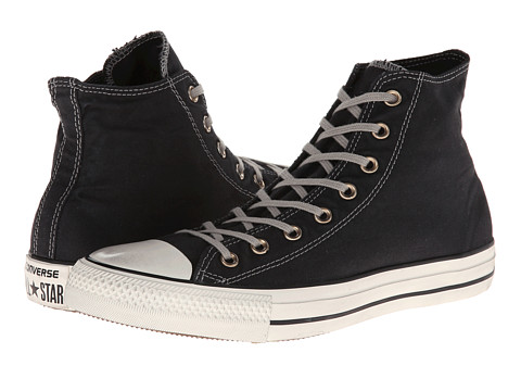 Converse - Chuck Taylor All Star Washed Canvas Hi (Black) Lace up casual Shoes
