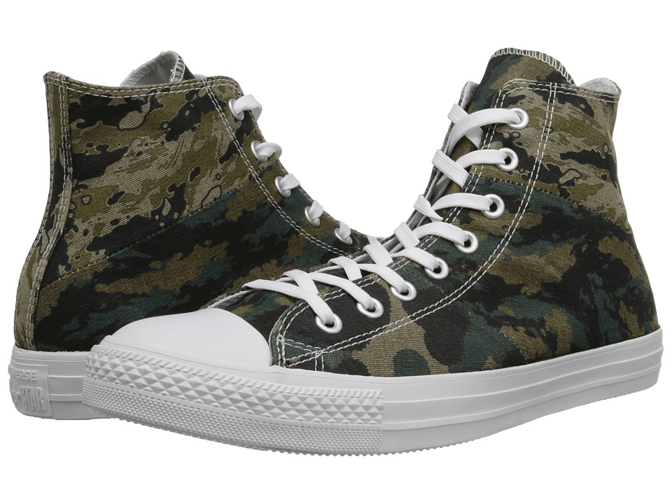Converse - Chuck Taylor All Star Tri-Panel Camo Hi (Khaki/Palm Green/Privet CM) Shoes