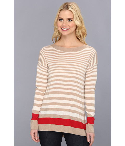 C&C California - Cashmere Stripe L/S Boat Neck Sweater (Oatmeal Heather) Women's Sweater