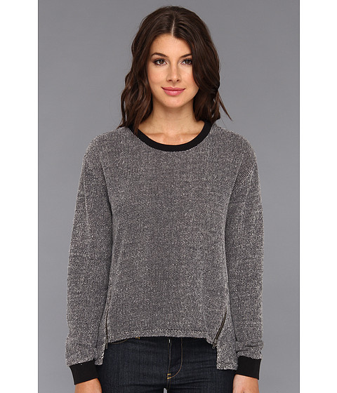 C&C California - Textured Loopy Tweed Zip Sweatshirt (Black) Women's Sweatshirt