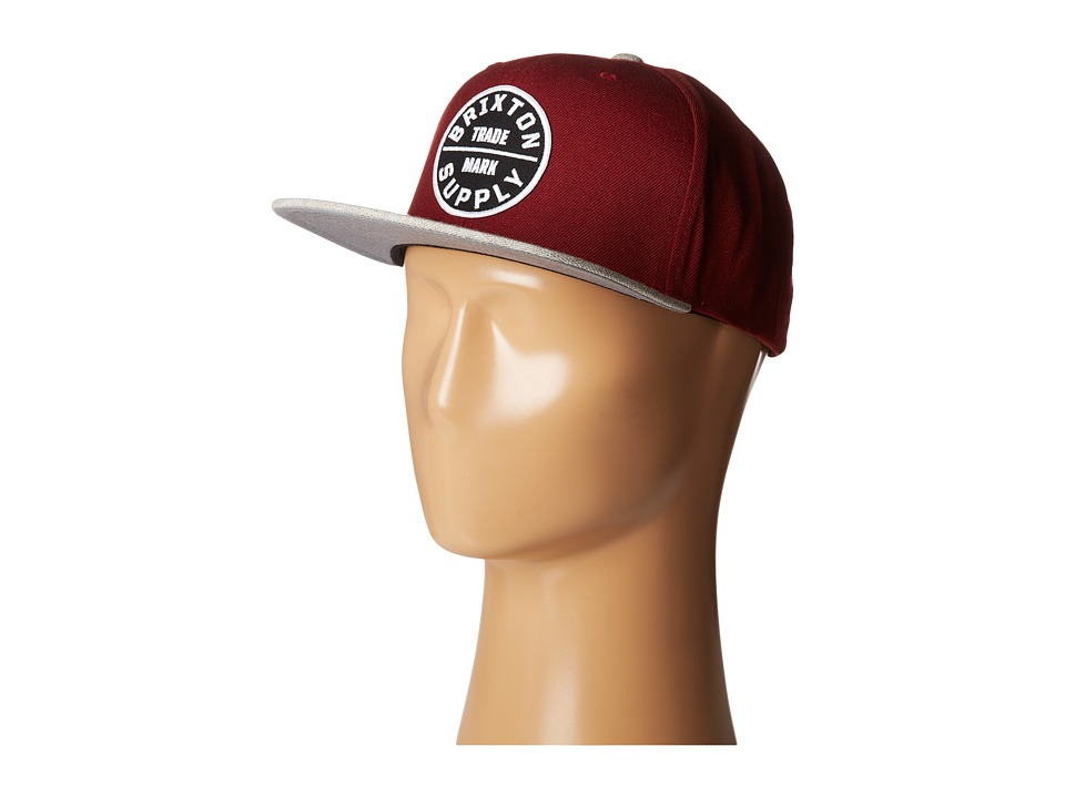 Brixton - Oath III (Burgundy/Light Heather Grey) Traditional Hats