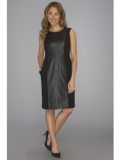 SALE! $29.99 - Save $99 on Anne Klein Leather Panel Ponte Sheath Dress (Black) Apparel - 76.75% OFF $129.00