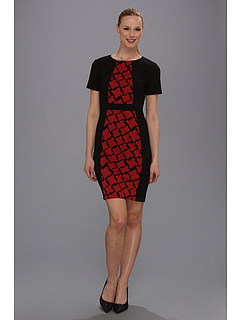 SALE! $39.99 - Save $89 on Anne Klein Houndstooth Combo Ponte Sheath Dress (Black) Apparel - 69.00% OFF $129.00