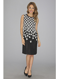 SALE! $39.99 - Save $89 on Anne Klein Tetris Jacquard Sheath Dress (Black Ivory) Apparel - 69.00% OFF $129.00