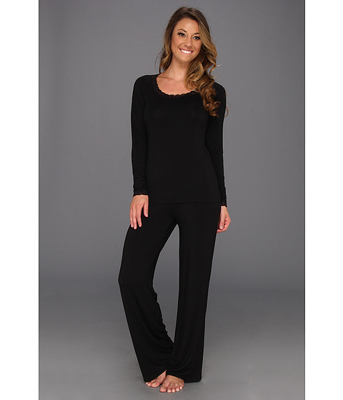 Natori - Feathers L/S PJ (Black) Women's Pajama Sets