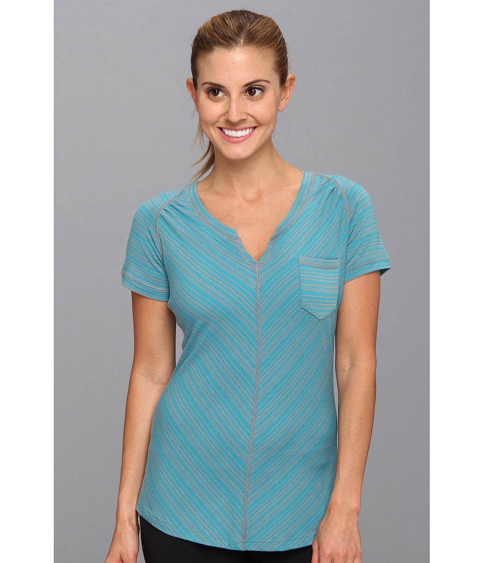 ExOfficio - Go-To Pocket Stripe S/S (Chlorine/Cement) Women