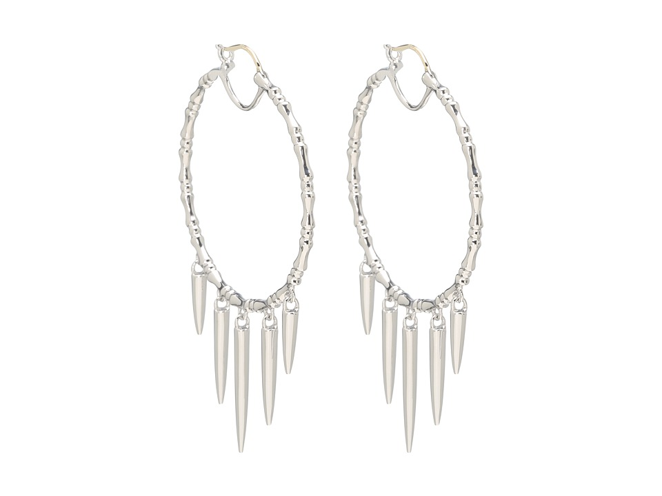 Stephen Webster - Verne Bone Hoop Earrings with Hanging Daggers (White Rhodium) Earring