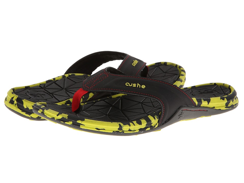 Cushe - Manuka Spindrift (Black/Lime/Red) Men's Sandals