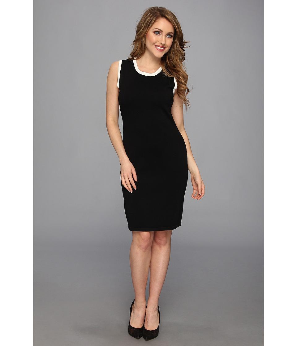 Calvin Klein - Knit Sheath Dress CD4W13L8 (Black/Cream) Women's Dress