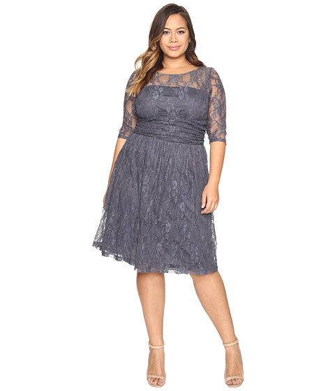 Kiyonna - Luna Lace Dress (Twilight Grey) Women's Dress